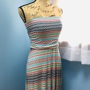 The Limited Patterned Strapless Maxi Dress